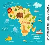 animals world map  africa.... | Shutterstock .eps vector #307790252