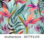 seamless tropical flower  plant ... | Shutterstock . vector #307791155