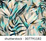 seamless tropical flower  plant ... | Shutterstock . vector #307791182