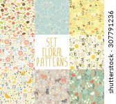 8 Seamless Patterns With Hand...