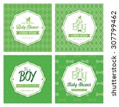 set of labels on textured... | Shutterstock .eps vector #307799462