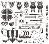 set viking items. skull  horned ... | Shutterstock .eps vector #307811888