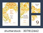bright vintage ornate cards.... | Shutterstock .eps vector #307812662