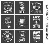 set of vintage wine typographic ... | Shutterstock .eps vector #307819196