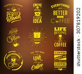 set of vintage wine typographic ... | Shutterstock .eps vector #307819202