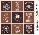 set of vintage wine typographic ... | Shutterstock .eps vector #307819232