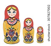 russian tradition matryoshka... | Shutterstock . vector #307827002