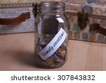 cash jar filled for my family... | Shutterstock . vector #307843832