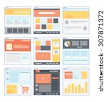 flat website wireframe with...