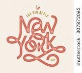 vintage hand lettered textured... | Shutterstock .eps vector #307872062