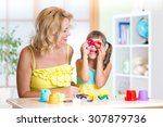 woman and kid girl have fun... | Shutterstock . vector #307879736