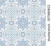 seamless damask pattern in blue ... | Shutterstock .eps vector #307880822