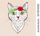 portrait of a retro cat with...   Shutterstock .eps vector #307894085