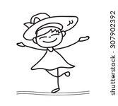hand drawing cartoon happy girl ... | Shutterstock .eps vector #307902392