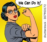 woman with glasses we can do it ... | Shutterstock .eps vector #307903172