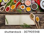 blank book  recipes and various ... | Shutterstock . vector #307905548