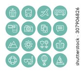 a set of vector line icons for... | Shutterstock .eps vector #307906826