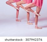 ballerinas stretching on the bar | Shutterstock . vector #307942376