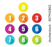 Colorful Flat Number Icons Wit...