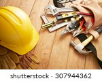 various type of tools on wood... | Shutterstock . vector #307944362