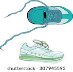 green sneakers  pair shoes... | Shutterstock .eps vector #307945592