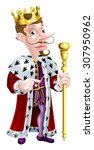 king cartoon character holding... | Shutterstock .eps vector #307950962