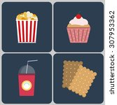 snacks icon set. bucket of... | Shutterstock .eps vector #307953362