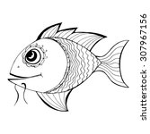 zentangle stylized fish. hand... | Shutterstock . vector #307967156