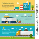 production process with factory ... | Shutterstock . vector #307980182