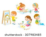 children drawing | Shutterstock .eps vector #307983485