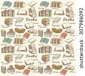 book collection seamless vector ... | Shutterstock .eps vector #307986092