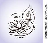 lotus flower pattern line on... | Shutterstock .eps vector #307998926