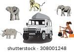 african thematic set. elephants ... | Shutterstock .eps vector #308001248