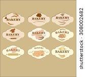 set of vintage  bakery logo... | Shutterstock .eps vector #308002682