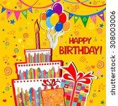 birthday card. celebration... | Shutterstock . vector #308003006