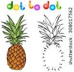 cartoon pineapple dot to dot.... | Shutterstock . vector #308017562