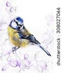 titmouse. dialog. flowers. hand ... | Shutterstock . vector #308027066
