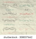 set of hand drawn colorful... | Shutterstock .eps vector #308037662