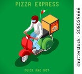 pizza scooter delivery man.... | Shutterstock .eps vector #308039666