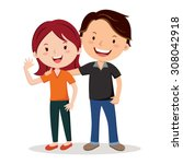 young happy couple. young...   Shutterstock .eps vector #308042918