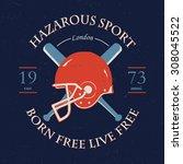 hazardous sport label with hand ... | Shutterstock .eps vector #308045522