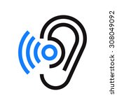 ear icon. hearing symbol... | Shutterstock .eps vector #308049092