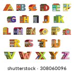 handmade font with flat style... | Shutterstock .eps vector #308060096