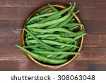 Green Beans In Wooden Plate ...