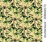 olive seamless pattern. hand... | Shutterstock .eps vector #308068172