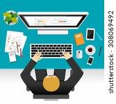 businessman working concept ... | Shutterstock .eps vector #308069492