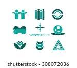 logo elements set green | Shutterstock .eps vector #308072036
