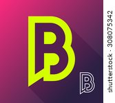 abstract letter b logo icon... | Shutterstock .eps vector #308075342