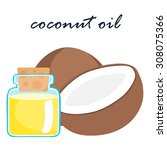 coconut and coconut oil product ... | Shutterstock .eps vector #308075366