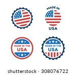 four made in usa labels in... | Shutterstock .eps vector #308076722